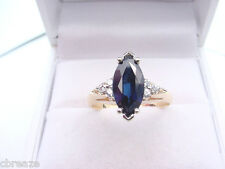 BEAUTIFUL LARGE NATURAL SAPPHIRE 2.05 CTS MARQUISE and DIAMONDS 14K GOLD RING