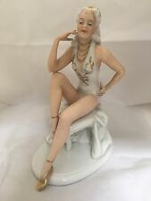 VINTAGE GERMAN PORCELAIN EROTIC GIRL  SWIMSUIT with JEWELRY UNTERWEISSBACH