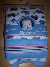 Gerber 6pk Burp Cloths,, Baby Shower, Truck, Car, Train, Plain