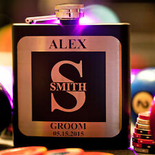 Bachelor Groomsman Flask, Monogram, PERSONALIZED, Custom Engraved Wedding Gift