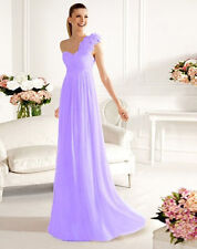 US 6 Lilac One shoulder Long Formal Bridesmaid Wedding Evening Party Prom Dress
