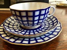 Lomonosov Porcelain Cobalt Cell Hand Painted with 22 carat gold Cup Saucer Plate