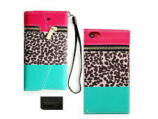 T P Leopard Zipper Wallet Purse Card Slot PU Leather Case Apple Iphone 5C