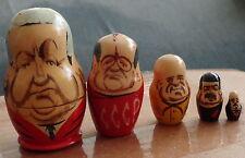 RUSSIAN soviet presidents Elsin Gorbachev  Khruzhev  NESTING DOLL 5 PCS  3.0  *