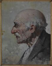 Italian Artist Lovely Old Man with Gray Hair and Moustache Portrait Oil on Board