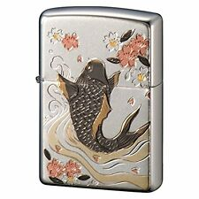 Zippo Lighter Japanese Design Carp x Sakura Traditional Rising Carp Lucky Charm