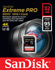 SanDisk 32GB 32G Extreme PRO SD SDHC Card 95MB/s Class 10 UHS-1 U3 4K Memory