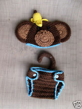 Crochet Newborn Photography Costume Infant Knit Monkey Hats Baby Photo Props
