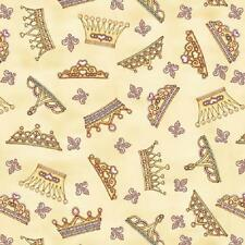 Fat Quarter Royal Princess Tossed Tiaras On Light Yellow 100% Quilting Fabric