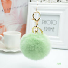 Handbag KeyRing Real Rabbit Fur Ball PomPom Phone Car Charm Keychain Soft Fluffy