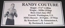 "MMA RANDY COUTURE Champion Silver Photo Plaque ""FREE POSTAGE"""