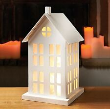 Shabby Chic 10 LED Warm White Wooden Light Up House Light Party Christmas Gift