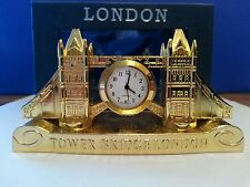 GOLD PLATED METALLIC TOWER BRIDGE LONDON CLOCK SOUVENIR GIFT
