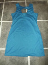 "DARK TURQUOISE BLUE TEAL UK 8 ? TUNIC DRESS CHEST 36"" 91cm CUT OUT NECK STYLE"