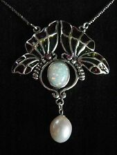 Sterling Silver French inspired stained Glass Gilson Opal Butterflies Necklace