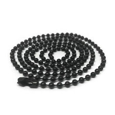 Mens 24 Inch Black Stainless Steel Bead Ball Necklace Chain 2.4mm