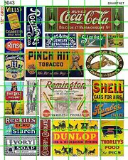 5043 DAVE'S DECALS HO TOBACCO CHEVY SHELL DUNLOP IVORY GUNS 1920'S 1930'S SET