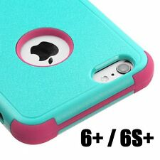 For iPhone 6 Plus / 6S Plus - HYBRID HIGH IMPACT RUBBER CASE TURQUOISE BLUE PINK