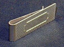 Money Clip ~ Silver-Tone W/Diagonal Lines, Rectangular Engraving Space #5320260