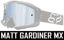SILVER MIRROR LENS to fit FOX MAIN MOTOCROSS GOGGLES tear off chrome bmx mtb new