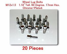 "20 Pcs wheel Lug Bolt M12x1.5 Tall 1.18"" 60 Degree. 17mm Hex Chrome-Plated"