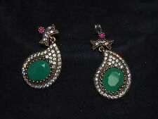EMERALD and RUBY LITE SILVER SET: EARRINGS with CUBIC ZIRCONIA stones