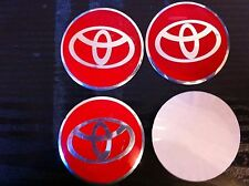 TOYOTA ALLOY WHEELS CENTRE STICKER SET (4) RED DIAMETER 56 mm