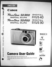 Canon Powershot SD200 IXUS 30 SD300 IXUS 40 Digital Camera User Guide  Manual