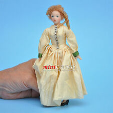 "VICTORIAN LADY IN IVORY GOWN PORCELAIN DOLL 5.5""H dollhouse miniature 1:12 scale"