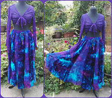 Jordash Embroidered Velvet Tie Dye Maxi Skirt Blue Purple Pagan Gypsy Boho L-XL