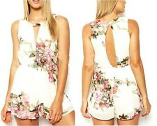 New Ladies White Floral V Neck Hollowed Sexy Casual Jump Suit/Outfit/Size 10-12