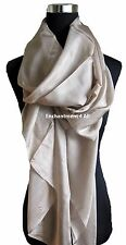 New Large Luxurious Silk Scarf Shawl Wrap, Beige
