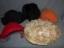 Ladies Vintage Hats Lot of 5 Flowers Netting Rhinestones Wool Faux Fur