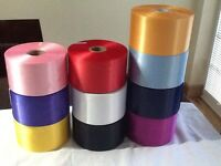 """SATIN SASH RIBBON 4"""" (100mm) EXTRA WIDE, LOTS OF BEAUTIFUL COLOURS FREE POST"""