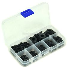 Black Nylon Flat Washer Assortment Kit, 7 Sizes, Total 350 PCS, Packed in a Box.
