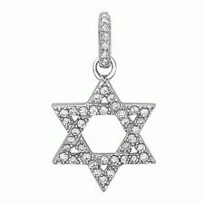 Sterling Silver Jewish Star of David White Crystals CZ Pendant Necklace