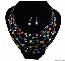 Wholesale 1set charm modern Colorful Small Beads necklaces&earrings choker bib