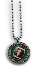 """Forgiven Jewelry Football Necklace on 24"""" Chain- I Can Do All Things Phil 4:13"""