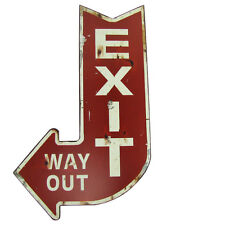 Large Red EXIT WAY OUT Metal Arrow Sign Bar/Home Theater Wall Decor Vintage Rep