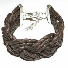 "BR496f Brown Woven Cotton 25mm w Silver Lobster Clasp Bracelet 7.5"" w Extender"