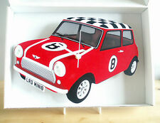 Mini Car Wall Clock, Classic Vintage Mini Car Clock, 60s Mini Car, Red Mini Car