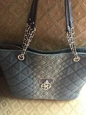 Guess Women's Aliza Blue Denim Quilted Tote Carryall Handbag
