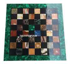 """18"""" Marble White Chess Table Top Rare Malachite Marquetry Inlay Game Outdoor Art"""