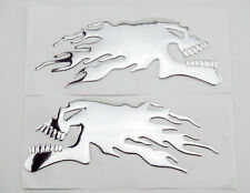 1 Set Motorcycle Tank Fairing Silver 3D Flame Skull Emblem Decal Sticker Badge