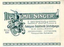 Emil Singer Leipzig Autotypien Holzschnitte Strichätzung Historische Annonce1914