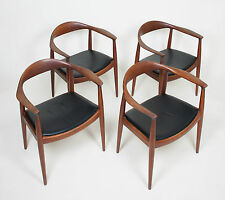 4x Hans Wegner Round The Chair Johannes Hansen For Knoll Vintage Teak Armchairs