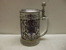 ORIGINAL GERMAN BMF GERMANY BEER STEIN GLASS BODY PEWTER LID