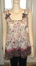 """Kool Hearts"" Ivory/Brown Multi Sleeveless Baby Doll Top~Size L (would fit M)"