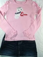 Gymboree Pink Homecoming Kitty Top & Mudd Distressed Denim Skort 6 Outfit G5