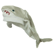 Plush Killer Great White Shark Hat Grey Novelty Jaws Ocean Costume Cap